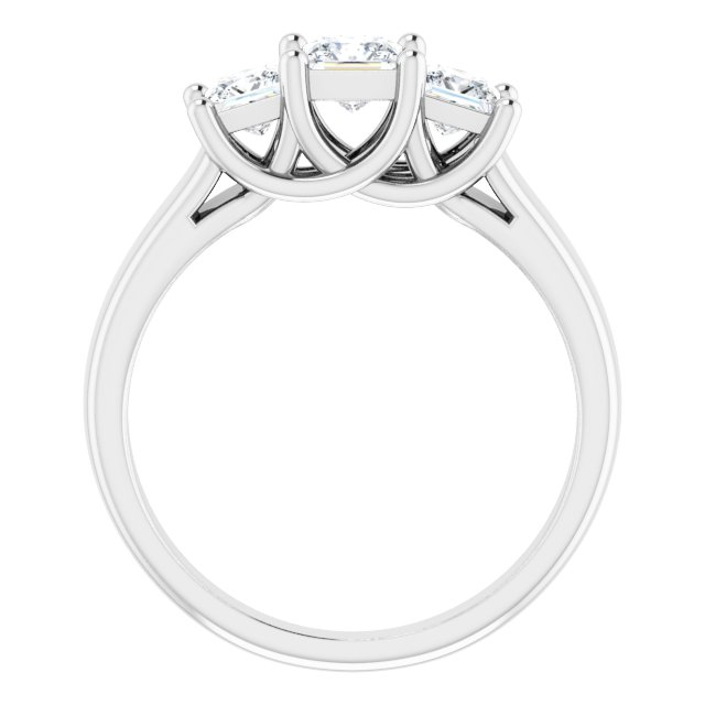Sterling Silver 4x4 mm & 3.5x3.5 mm Square Cubic Zirconia Three-Stone Ring Size 7