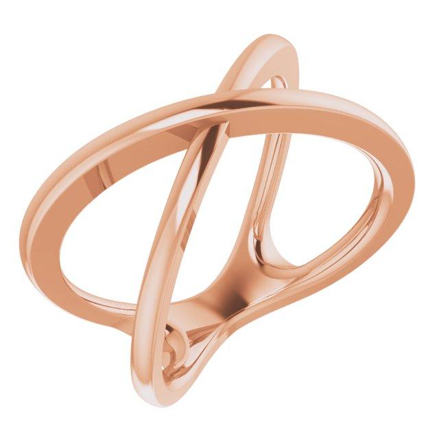 14K Rose Criss-Cross Ring Size 7