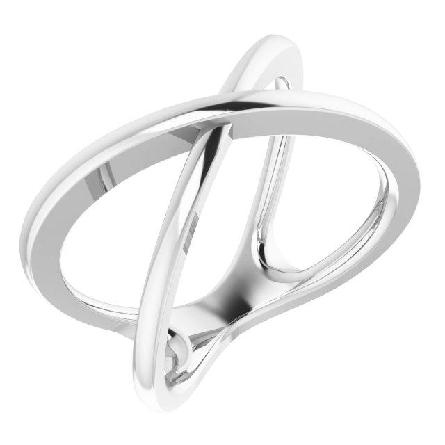 14K White Criss-Cross Ring Size 7