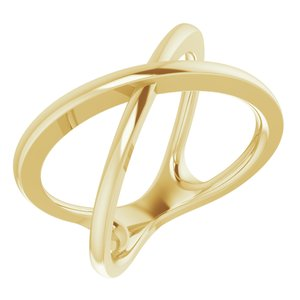 14K Yellow Criss-Cross Ring Size 7