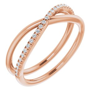 14K Rose 1/8 CTW Diamond Criss-Cross Ring