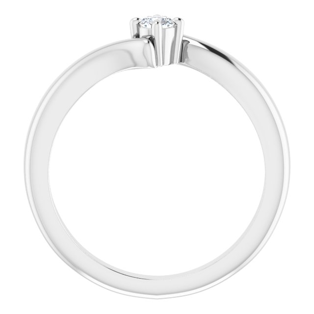 Sterling Silver 3 mm Round Cubic Zirconia Bypass Ring Size 7
