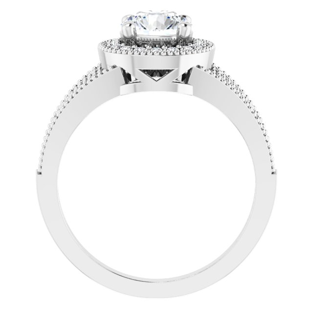 Sterling Silver 6.5 mm Round Cubic Zirconia Halo-Style Ring Size 7