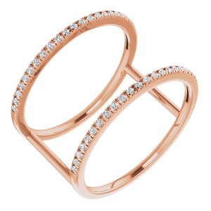 14K Rose 1/5 CTW Diamond Freeform Ring