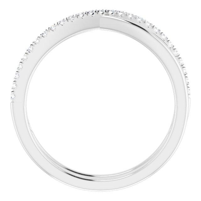 14K White 1/8 CTW Natural Diamond Criss-Cross Ring
