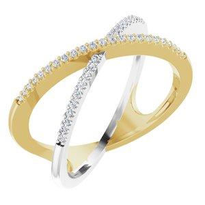 14K Yellow & White 1/6 CTW Diamond Criss-Cross Ring