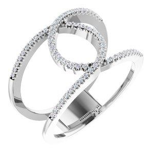 14K White 1/5 CTW Diamond Interlocking Loop Ring