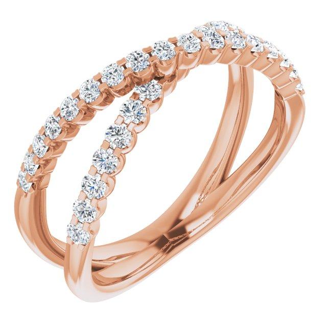 14K Rose 1/2 CTW Lab-Grown Diamond Criss-Cross Ring