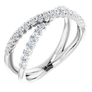 14K White 1/2 CTW Diamond Criss-Cross Ring