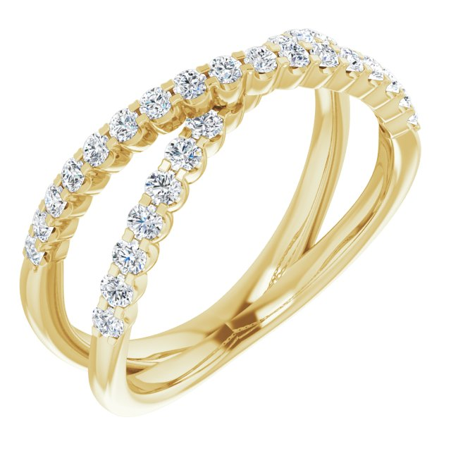 14K Yellow 1/2 CTW Diamond Criss-Cross Ring