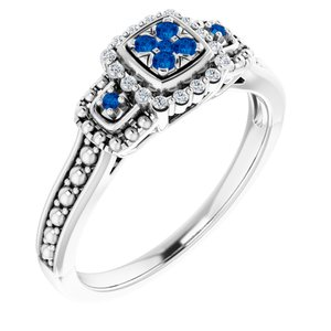 Sterling Silver Blue Sapphire & .06 CTW Diamond Halo-Style Illusion Ring