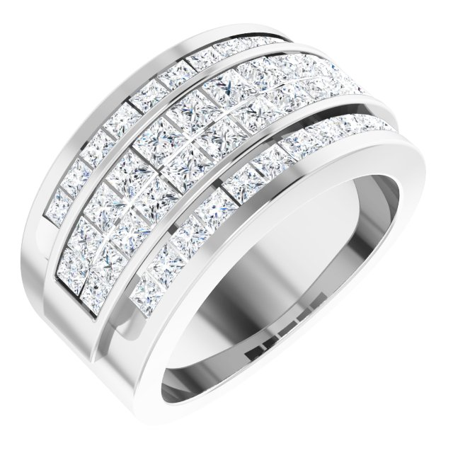 14K White 2 CTW Diamond Invisible Set Ring Size 5