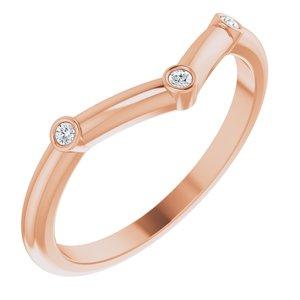 14K Rose .03 CTW Diamond Stackable Chevron Ring