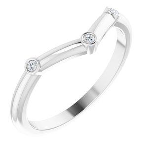 14K White .03 CTW Diamond Stackable Chevron Ring