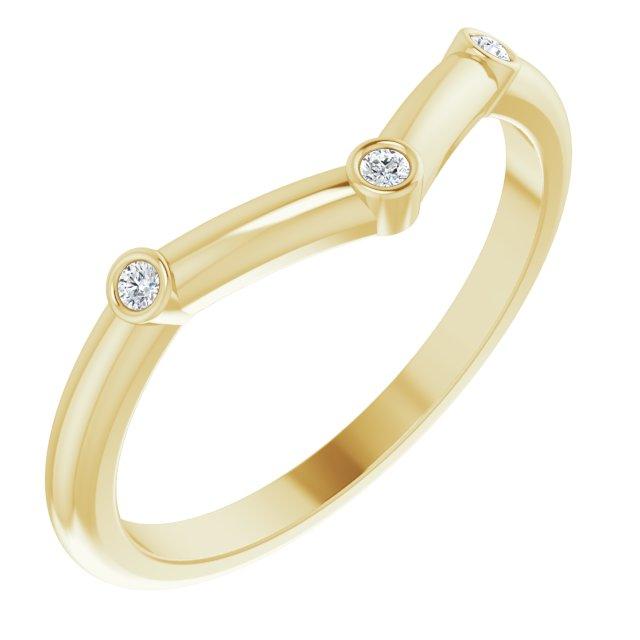 14K Yellow .03 CTW Diamond Stackable Chevron Ring
