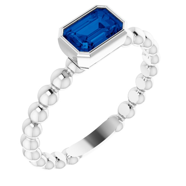 Sterling Silver Lab-Grown Blue Sapphire Stackable Family Ring