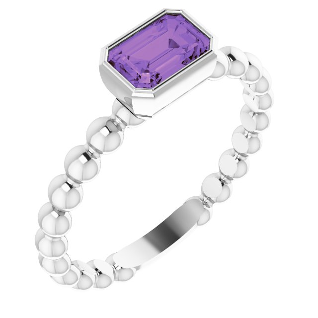 Sterling Silver Amethyst Stackable Family Ring