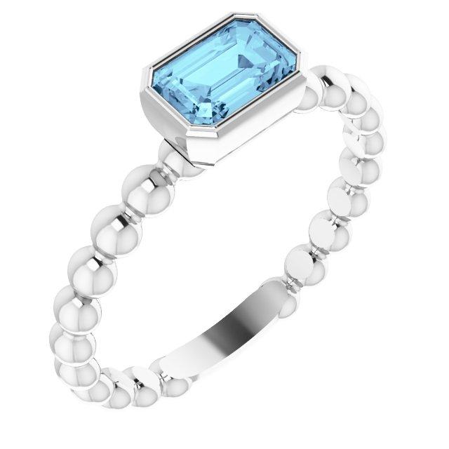 14K White Aquamarine Stackable Family Ring