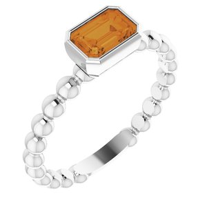 Sterling Silver Citrine Stackable Family Ring