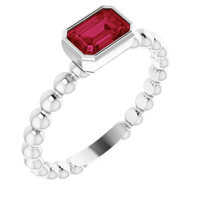 Sterling Silver Chatham® Created Ruby Stackable Family Ring