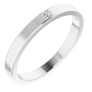 Sterling Silver .025 CTW Diamond Stackable Family Ring
