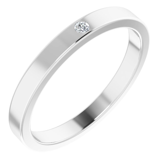 Sterling Silver .02 CTW Diamond Stackable Family Ring