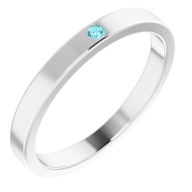 Sterling Silver Blue Zircon Stackable Family Ring