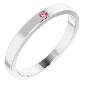 14K White Pink Tourmaline Stackable Family Ring