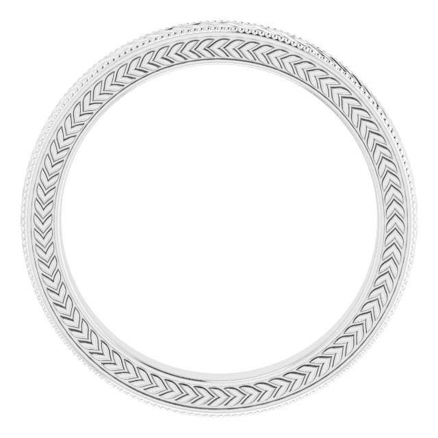 14K White 3 mm Wheat Pattern Band Size 7.5
