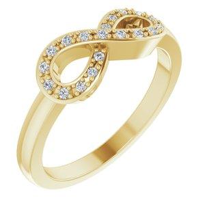 14K Yellow 1/10 CTW Diamond Infinity-Inspired Ring