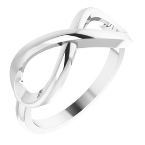 14K White Infinity-Inspired Ring Size 7