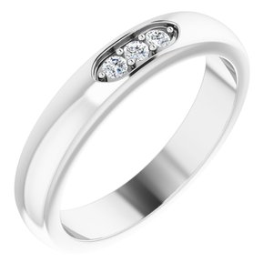 14K White .08 CTW Diamond Three-Stone Anniversary Band