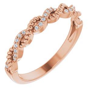 14K Rose .08 CTW Diamond Stackable Ring