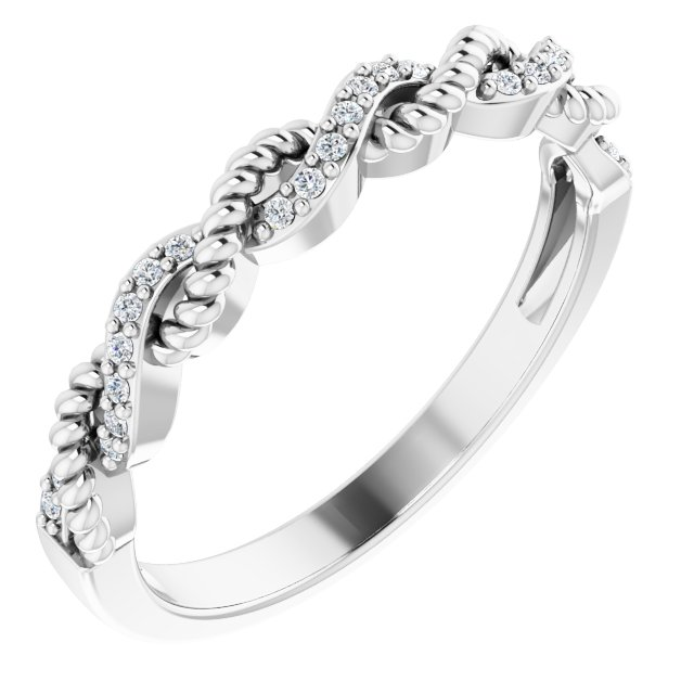 14K White .08 CTW Diamond Stackable Ring