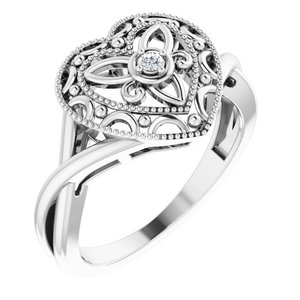 Sterling Silver .025 CTW Diamond Heart Ring Size 8
