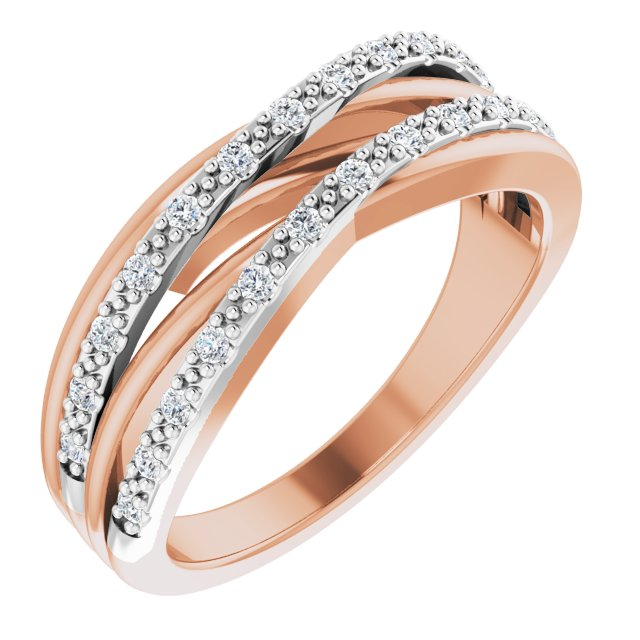 14K Rose & White 1/5 CTW Diamond Ring