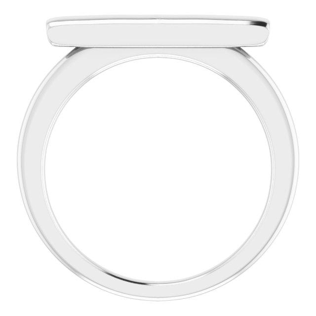 14K White Bar Ring