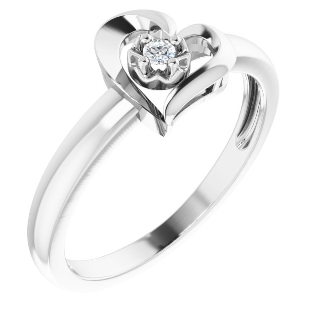 Sterling Silver 2 mm Round Cubic Zirconia Heart Ring Size 7