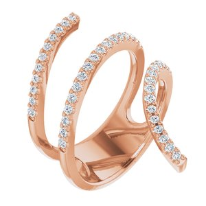14K Rose 1/2 CTW Diamond Spiral Wrap Ring