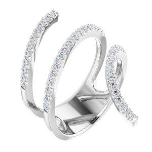 14K White 1/2 CTW Diamond Spiral Wrap Ring