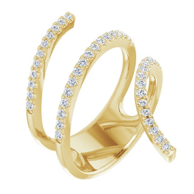 14K Yellow 1/2 CTW Diamond Spiral Wrap Ring