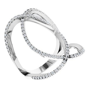 14K White 3/8 CTW Diamond Freeform Ring