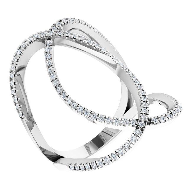 14K White 3/8 CTW Natural Diamond Ring