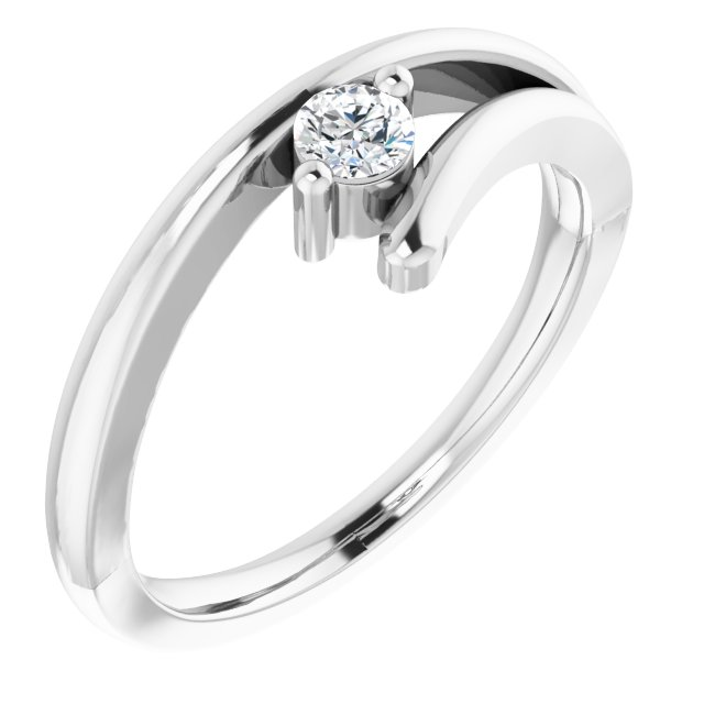 Sterling Silver 3.2 mm Cubic Zirconia Solitaire Ring Size 6