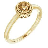 14K Yellow 5 mm Round Ring Mounting