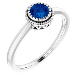 "14K White Blue Sapphire ""September"" Birthstone Ring"