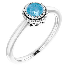 "14K White Swiss Blue Topaz ""December"" Birthstone Ring"
