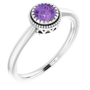 "14K White Amethyst ""February"" Birthstone Ring"