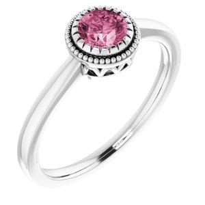 """14K White Pink Tourmaline """"October"""" Birthstone Ring"""
