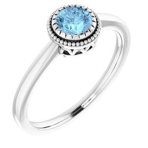 "14K White Aquamarine ""March"" Birthstone Ring"